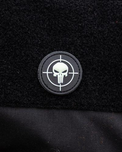 Punisher Target Pääkallo PVC Velcromerkki Glow-in-the-Dark