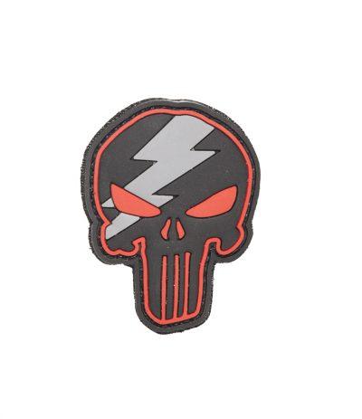 Punisher Red Bolt Pääkallo PVC Velcromerkki